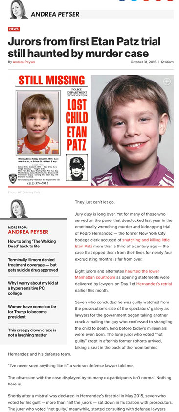 Jurors from first Etan Patz trial still haunted by murder case