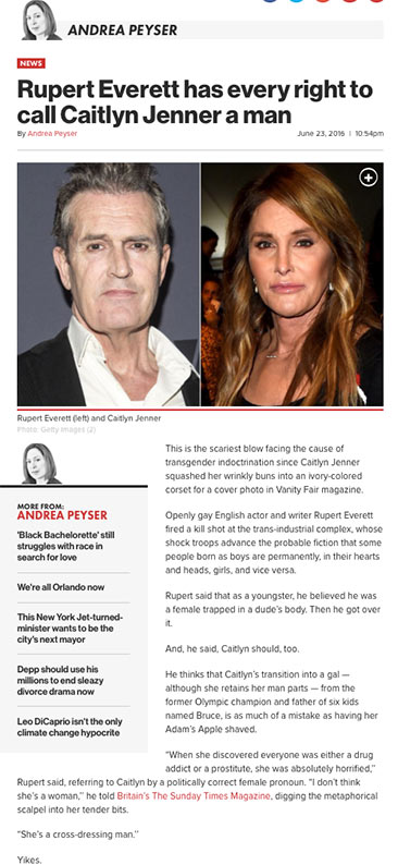 Rupert Everett has every right to call Caitlyn Jenner a man