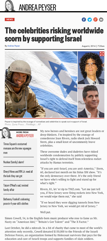 The celebrities risking worldwide scorn by supporting Israel